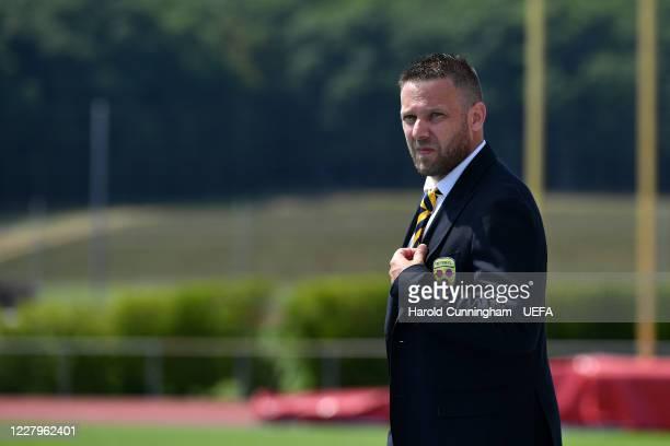Tre Fiori F.C. Coach Matteo Cecchetti looks on during the UEFA Champions League 2020/21 Preliminary Round Semi-final match between S.S. Tre Fiori...