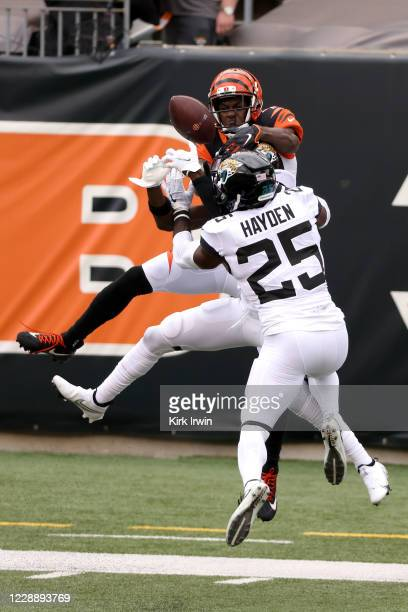 Tre Herndon of the Jacksonville Jaguars and D.J. Hayden break up a pass intended for A.J. Green of the Cincinnati Bengals during the second quarter...