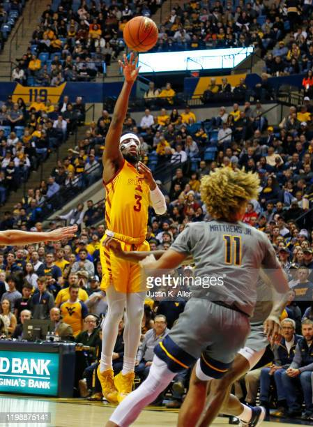 Tre Jackson of the Iowa State Cyclones pulls up for a shot against the West Virginia Mountaineers at the WVU Coliseum on February 5 2020 in...