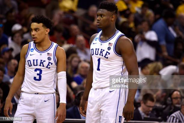 Tre Jones and Zion Williamson of the Duke Blue Devils looks on in the second half of their game against the North Dakota State Bison during the first...