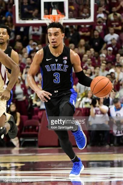 Tre Jones guard Duke University Blue Devils dribbles the basketball across midcourt against the Florida State University Seminoles in an Atlantic...
