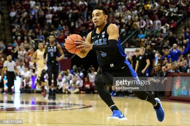 Tre Jones guard Duke University Blue Devils leads a fast break to the basket against the Florida State University Seminoles in an Atlantic Coast...