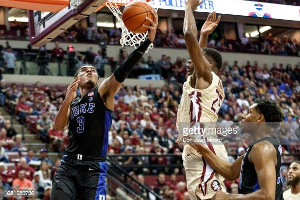 Tre Jones of the Duke Blue Devils attacks the basket during the game against the Florida State Seminoles at Donald L Tucker Center on January 12 2019...