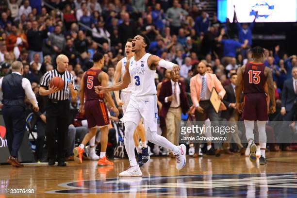 Tre Jones of the Duke Blue Devils celebrates a point against the Virginia Tech Hokies in the third round of the 2019 NCAA Photos via Getty Images...