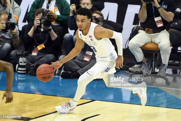 Tre Jones of the Duke Blue Devils dribbles up court during the East Regional game of the 2019 NCAA Men's Basketball Tournament against the Michigan...