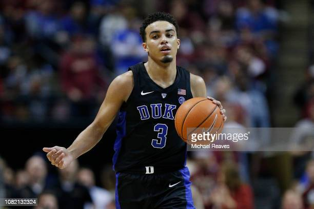 Tre Jones of the Duke Blue Devils dribbles with the ball against the Florida State Seminoles at Donald L Tucker Center on January 12 2019 in...