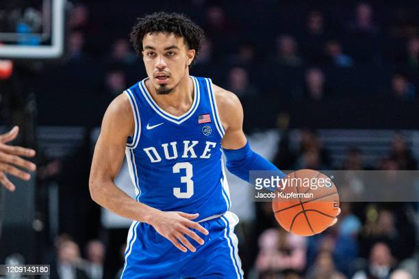 Tre Jones of the Duke Blue Devils during the second half during their game against the Wake Forest Demon Deacons at LJVM Coliseum Complex on February...
