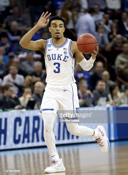 Tre Jones of the Duke Blue Devils handles the ball on offense against the North Dakota State Bison in the first half during the first round of the...