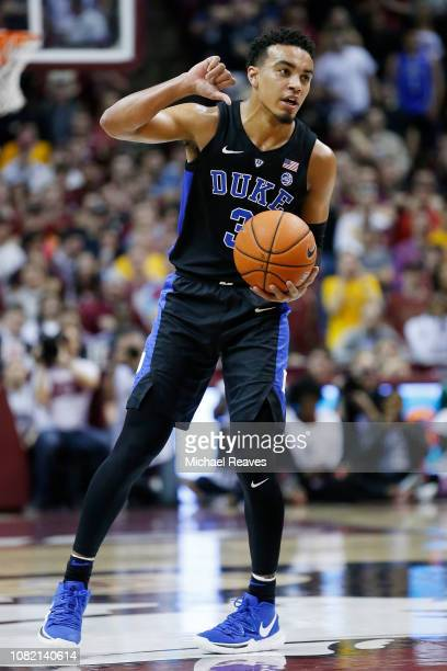 Tre Jones of the Duke Blue Devils in action against the Florida State Seminoles at Donald L Tucker Center on January 12 2019 in Tallahassee Florida
