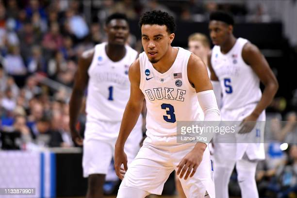 Tre Jones of the Duke Blue Devils in action in the first half against the Virginia Tech Hokies during the 2019 NCAA Men's Basketball Tournament East...
