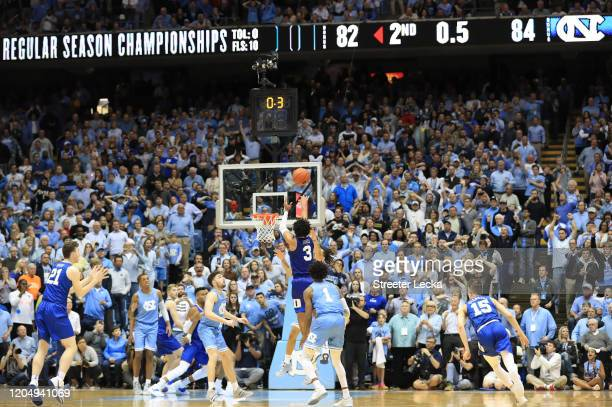 Tre Jones of the Duke Blue Devils makes a shot at the end of regulation to send the game to overtime against the North Carolina Tar Heels at Dean...