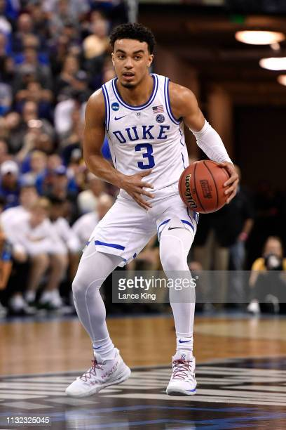 Tre Jones of the Duke Blue Devils moves the ball against the North Dakota State Bison in the second half during the first round of the 2019 NCAA...