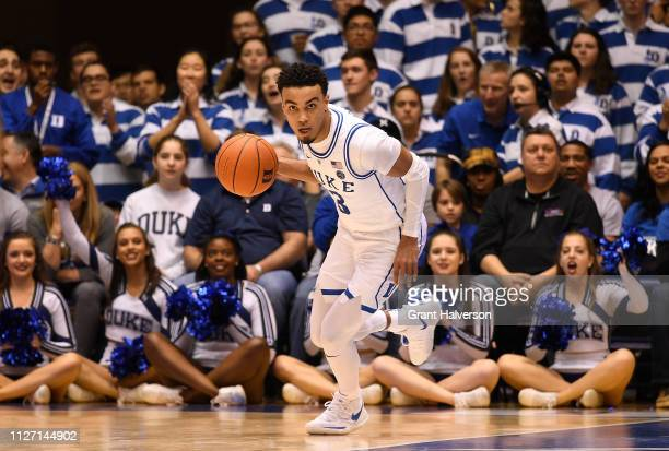 Tre Jones of the Duke Blue Devils moves the ball against the St. John's Red Storm during their game at Cameron Indoor Stadium on February 02, 2019 in...