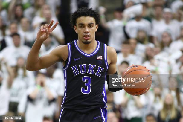 Tre Jones of the Duke Blue Devils plays against the Michigan State Spartans at the Breslin Center on December 03, 2019 in East Lansing, Michigan.