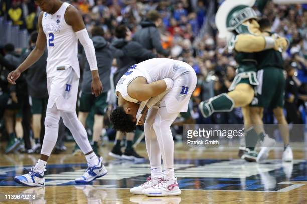 Tre Jones of the Duke Blue Devils reacts after his teams, 68-67, loss to the Michigan State Spartans in the East Regional game of the 2019 NCAA Men's...