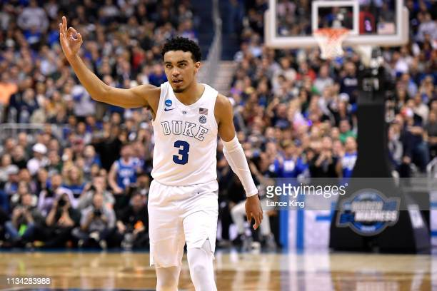 Tre Jones of the Duke Blue Devils reacts in the first half against the Michigan State Spartans during the 2019 NCAA Men's Basketball Tournament East...