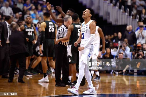 Tre Jones of the Duke Blue Devils reacts in the second half against the Michigan State Spartans during the 2019 NCAA Men's Basketball Tournament East...
