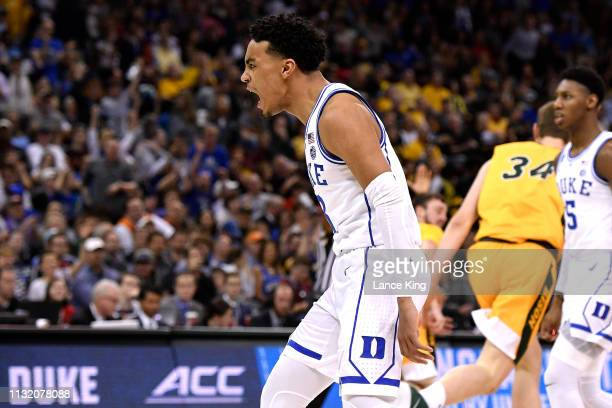 Tre Jones of the Duke Blue Devils reacts in the second half of their game against the North Dakota State Bison during the first round of the 2019...