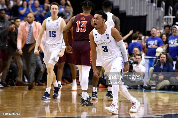 Tre Jones of the Duke Blue Devils reacts in the second half of their game against the Virginia Tech Hokies during the 2019 NCAA Men's Basketball...