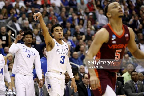 Tre Jones of the Duke Blue Devils shoots a three point basket against the Virginia Tech Hokies during the second half in the East Regional game of...