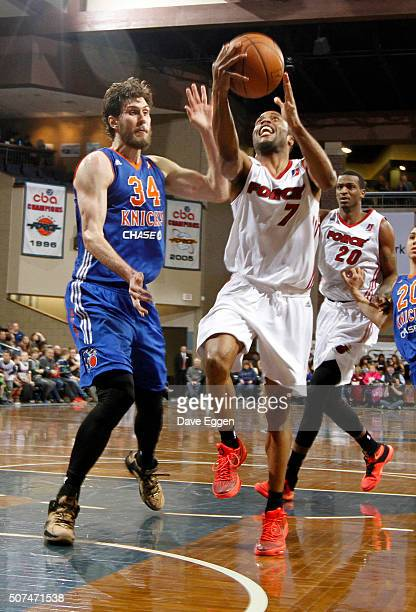 Tre Kelley from the Sioux Falls Skyforce takes the ball to the basket against Jordan Bachynski from the Westchester Knicks at the Sanford Pentagon...