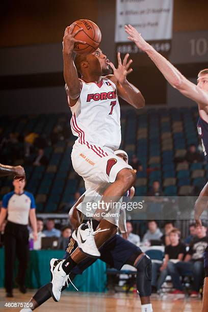 Tre Kelly of the Sioux Falls Skyforce drives to the basket against the Bakersfield Jam during the 2014 NBA DLeague Showcase presented by Samsung...