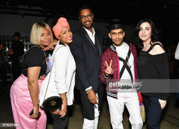 Tre Major Jennifer Risinger Derek Lee and with friends attend MAC Cosmetics Aaliyah Launch Party on June 14 2018 in Hollywood California
