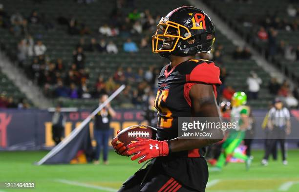 Tre McBride of the LA Wildcats celebrates after catching a touchdown pass against the Tampa Bay Vipers at Dignity Health Sports Park during an XFL...