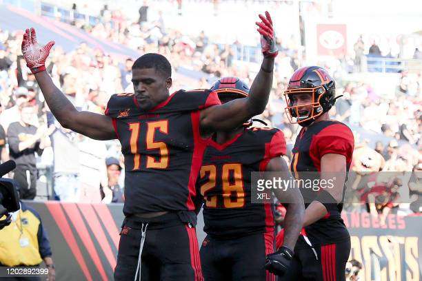 Tre McBride of the LA Wildcats celebrates the first touchdown during their XFL game against the DC Defenders at Dignity Health Sports Park on...