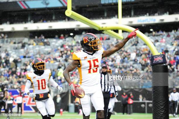 Tre McBride of the LA Wildcats reacts to scoring LA Wildcats first touchdown during the XFL game against the New York Guardians at MetLife Stadium on...