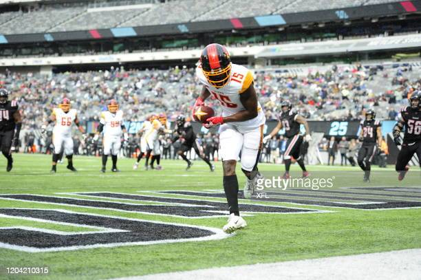 Tre McBride of the LA Wildcats scoring LA Wildcats first touchdown during the XFL game against the New York Guardians at MetLife Stadium on February...
