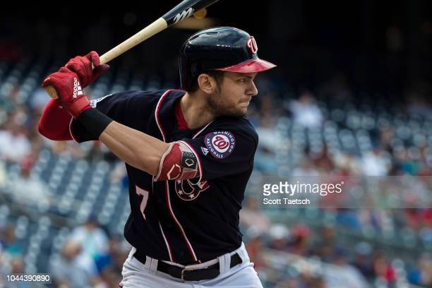 Trea Turner of the Washington Nationals at bat against the Chicago Cubs during the third inning at Nationals Park on September 13 2018 in Washington...