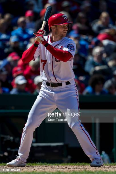 Trea Turner of the Washington Nationals at bat against the New York Mets during the fifth inning at Nationals Park on March 31 2019 in Washington DC