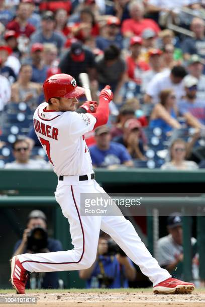 Trea Turner of the Washington Nationals bats against the Atlanta Braves in the first inning at Nationals Park on July 22 2018 in Washington DC