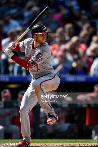 Trea Turner of the Washington Nationals bats against the Colorado Rockies at Coors Field on September 30 2018 in Denver Colorado