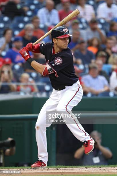 Trea Turner of the Washington Nationals bats against the New York Mets at Nationals Park on July 31 2018 in Washington DC
