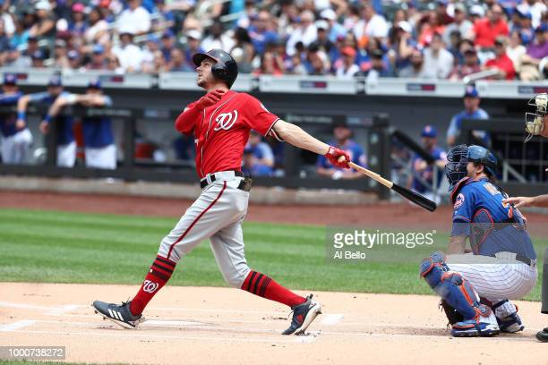 Trea Turner of the Washington Nationals bats against the New York Mets during their game at Citi Field on July 15 2018 in New York City