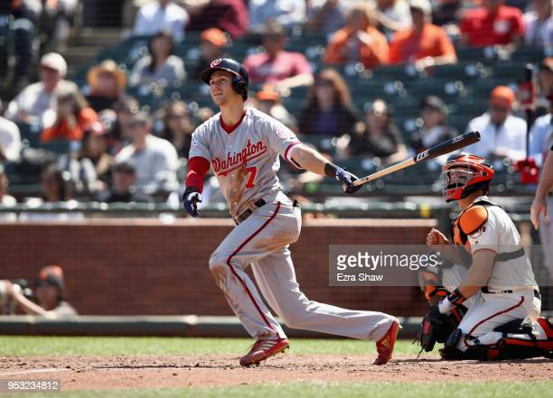 Trea Turner of the Washington Nationals bats against the San Francisco Giants at ATT Park on April 25 2018 in San Francisco California