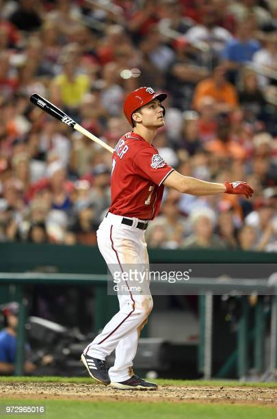 Trea Turner of the Washington Nationals bats against the San Francisco Giants at Nationals Park on June 8 2018 in Washington DC