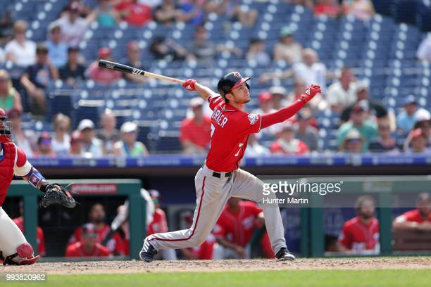 Trea Turner of the Washington Nationals bats during a game against the Philadelphia Phillies at Citizens Bank Park on July 1 2018 in Philadelphia...