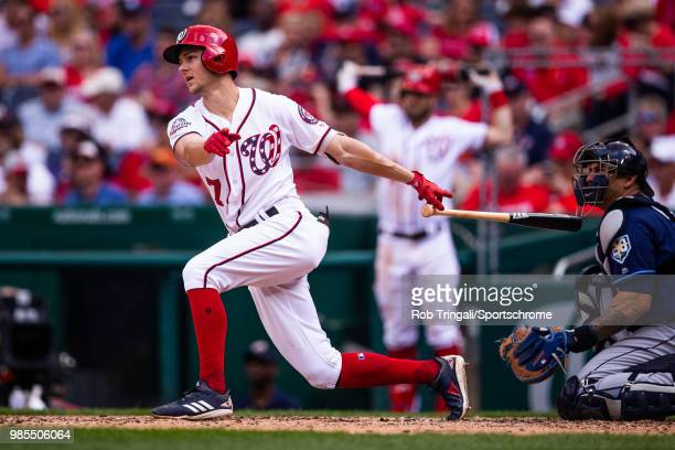 Trea Turner of the Washington Nationals bats during the game against the Tampa Bay Rays at Nationals Park on Wednesday June 6 2018 in Washington DC