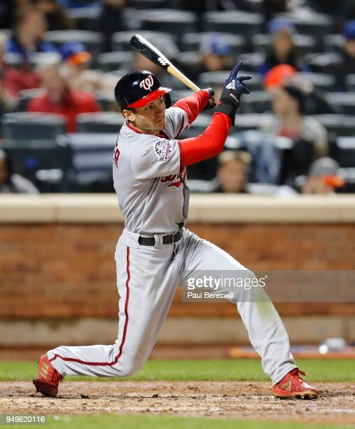 Trea Turner of the Washington Nationals bats in an MLB baseball game against the New York Mets on April 16 2018 at CitiField in the Queens borough of...