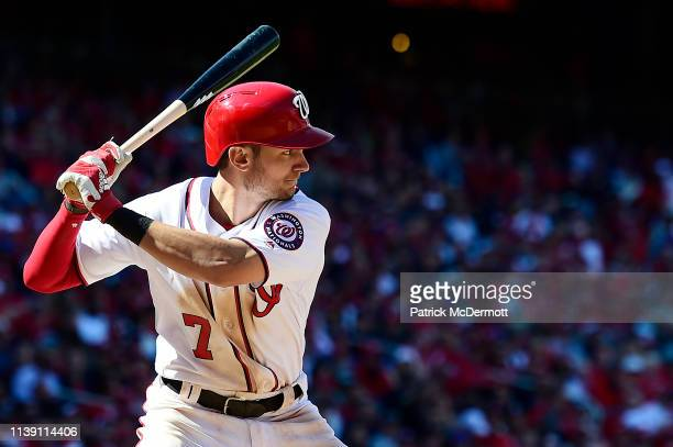 Trea Turner of the Washington Nationals bats in the eighth inning against the New York Mets on Opening Day at Nationals Park on March 28 2019 in...