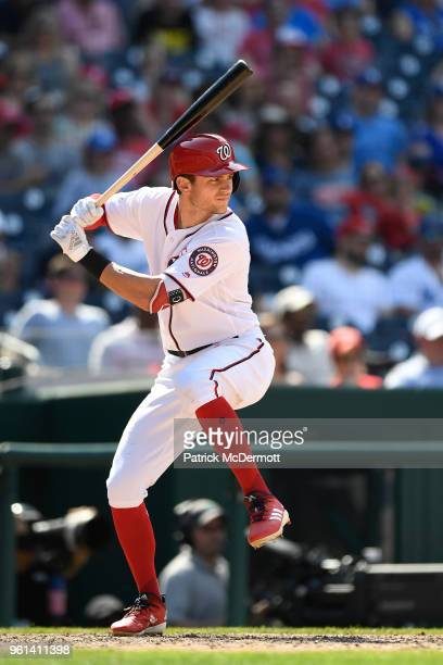 Trea Turner of the Washington Nationals bats in the eighth inning against the Los Angeles Dodgers at Nationals Park on May 20 2018 in Washington DC