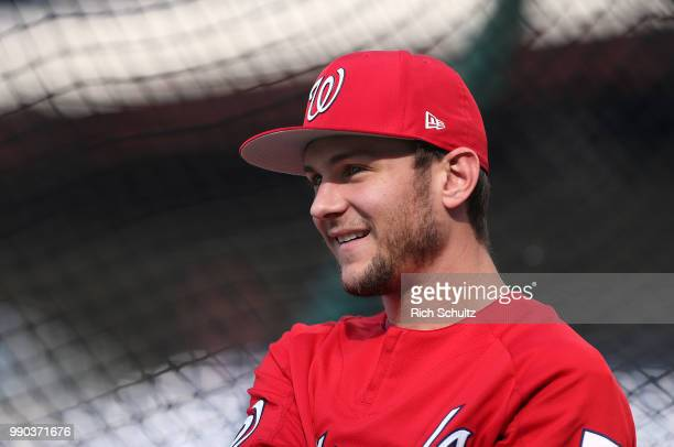 Trea Turner of the Washington Nationals before a game against the Philadelphia Phillies at Citizens Bank Park on June 29 2018 in Philadelphia...