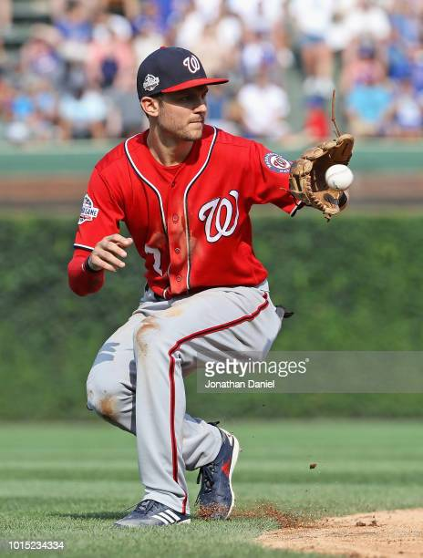 Trea Turner of the Washington Nationals fields a ball hit by David Bote of the Chicago Cubs in the 4th inning at Wrigley Field on August 11 2018 in...