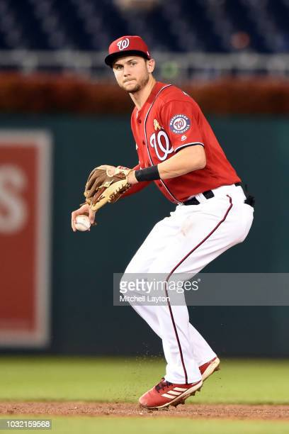 Trea Turner of the Washington Nationals fields a ground ball during a baseball game against the Milwaukee Brewers at Nationals Park on September 1...