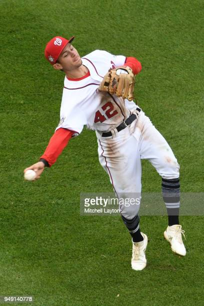 Trea Turner of the Washington Nationals fields a ground ball during a baseball game against the Colorado Rockies at Nationals Park on April 15 2018...