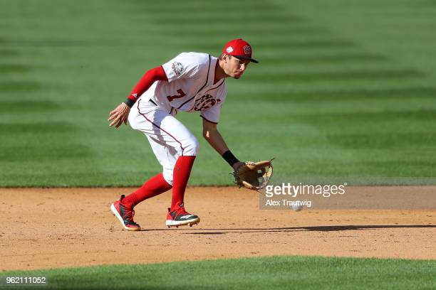 Trea Turner of the Washington Nationals fields a ground ball during a game against the San Diego Padres at Nationals Park on Wednesday May 23 2018 in...