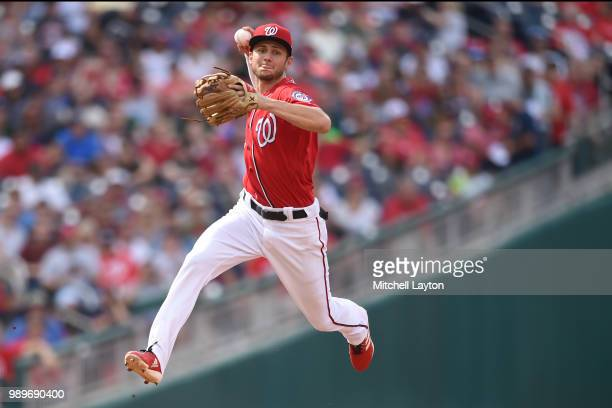 Trea Turner of the Washington Nationals fields a ground ball during a baseball game against the Philadelphia Phillies at Nationals Park on June 23...